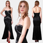 Mermaid Women Crushed Bodice Rhinestone Strapless Slit Evening Cocktail Dress