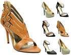 Womens Ankle Cuff Party Heels Ladies Diamante Studded Strappy Stiletto Shoes 3-8
