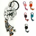 """Handmade"" Leather Flower Bag Charm Key Ring Keychain Amaryllis Floral efa1"