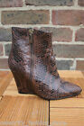 Karen Millen Brown Snake Print Pointed Wedge Heel Ankle Leather Shoe Boots 3 36