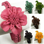 """Handmade"" Leather Flower Cuff Bracelet 7.5 - 8.25 in Braid Lewisia eba3"