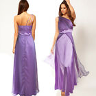Womens One Shoulder Satin Chiffon Evening Formal Bridesmaid Wedding Party Dress