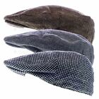 Mens Tweed Flat Cap Country Style Fashionable Hard Peaked Herringbone