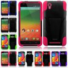 For ZTE ZMAX Z970 Tuff Hybrid Armor T-STAND Cover Case + Screen Guard