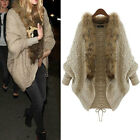 NEW Faux Fur Collar Loose Batwing Cape Coat Jacket Knit Cardigan Sweater Outwear