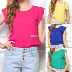 New Women Womens Summer Casual Short Sleeve Loose Chiffon Blouse Shirt Top Tops