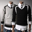 New Mens Premium Stylish Slim Fit V-neck Sweater Jumper Tops Cardigan-AU JR