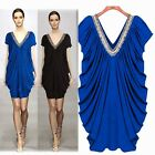 Slouchy Double V-neck Handmade Beadwork Pleated Women's Mini Dress Stretch Loose