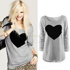 Fashion Women's Loose Long Sleeve Love Heart Round Neck T shirt Tops Blouse Lady