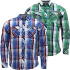 Mens Dissident Long Sleeve Checked Shirt / Roll Sleeve New M L XL XXL