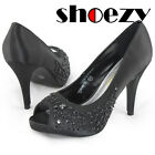 womens peep toe black rhinestone wedding party pumps high heels satin dress shoe