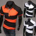 Men's Slim Fit Casual Polo Short Sleeve Striped Shirts T-Shirts Tops & Tees