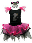 Kitty Cat Princess Girls Costume Dress Ballet Leotard Tutu + Headband Age 1-9T