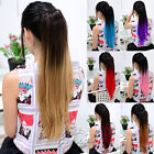 Fashion Long Straight Dip Dye Ombre Clip In Festival Ponytail Hair Extensions