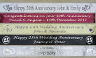 10th 20th 30th 40th 50th WEDDING ANNIVERSARY PERSONALISED BANNER, FAST DESPATCH
