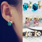 Sweetly Girls Bowknot Shiny Cube 3D Crystal Ear Stud Earrings 3 Color for Choice