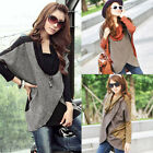 Womens Long Sleeve Blouse Patchwork Wrap Front Draped Neck Loose T-Shirt Tops