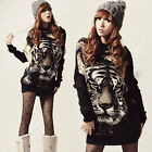 Women Tiger Batwing Knitwear Long Sleeve Sweater Jumper Tops Pullover Mini Dress