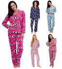 Womens Traditional Warm Fleece PJ Pyjama Set Night Wear PJ's Pyjamas Sets Ladies