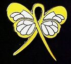 Yellow Awareness Ribbon Butterfly Pin Cancer Cause Support  Inspirational New