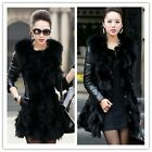 2014 New Faux Leather Coat And Fur Collar Warm Coat Mid-Long Jacket Overcoat - Z