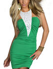 Bodycon Stretch Rhinestone Halter Bib Ruch Short Mini Cocktail Party Bling Dress
