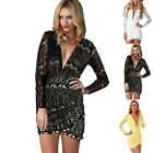 New Charming Women's Lace Dress Sexy Slim Fit Nightclub Hip Package Deep V-neck