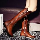 Women's Lace Up Side Zipper Pointed Toe Knee High Riding Boots Shoes Plus Size