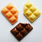 6 CHOCOLATE BAR RESIN FLAT BACK CABOCHONS 17mm x 12mm - Sweets- Decoden