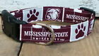 Mississippi State Bulldogs buckle dog collar, martingale with leash set option