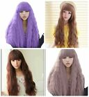 New Women Fashion Long Curly Hair Wavy Full Wigs Neat Bangs Party Wig 4 Colors