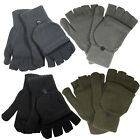 Marku-Itzu Co. 2 In 1  Fingerless Gloves Mittens Thermal Insulate Fleece  Black
