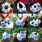 Classical Blue and White Porcelain Pendant Ceramic Beads Hand-Woven Necklace