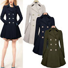 Women Ladies Lapel Wool Cashmere Long Winter Parka Coat Trench Outwear Jacket