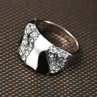 Women Girls White Black Enamel Crystal 18K White Gold Plated Cocktail Ring