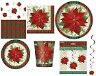 Christmas POINSETTIA PLAID Xmas Party Tableware Range - Partyware Decorations
