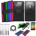 For ZTE ZMax Case Rugged Cover Stand + Holster + USB Charger + Screen Guard +Pen