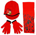 Boys Angry Birds Knitted Peaked Hat Scarf & Gloves Set Red 3-8 Years NEW