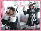 new Gothic Punk Lolita Fur Rabbit Ear Coat Jacket 71018 B+W