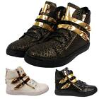 Womens Girls Golden Zip Buckle Hi High Top Trainers Ladies Casual Stylish Shoes