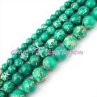 6-12mm Smooth Round Dark Green Imperial Jasper Gemstone Spacer Beads Strand 15""