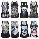 Women's Tank Top Vest Print Blouse Gothic Punk Party Clubwear Sleeveless T-Shirt