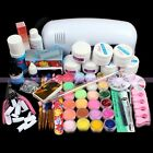9W Acrylic UV Gel 24 Pots Powder Dust Finger Mold Pen Nail Art Tips Decor Kits