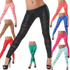 Leggings lang Leggins Damen Clubwear Party Tanz Leder Optik Club Gogo eng NEU