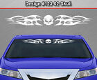 Design #123-02 SKULL Tribal Flame Windshield Decal Window Sticker Vinyl Graphic