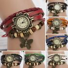New Retro Women PU Leather Bracelet Butterfly Decoration Quartz Wrist Watch B56D