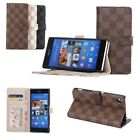Plaid Patterns Stand Leather Case Card Wallet Flip Skin Cover For Sony Xperia Z3