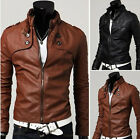 cheap sales Korean Style Men Slim Fit Synthetic Leather Short Jacket Coat Brown