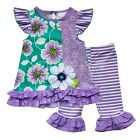 Toddler Kids Girls Floral Ruffle Top Tutu Dress + Striped Legging Pants Outfits
