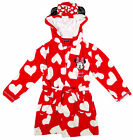 Girls Minnie Mouse Hearts Hoody Dressing Gown with Ears Red BathRobe 2-9 Yrs NEW